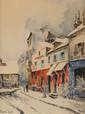 FRANK-WILL (1900-1951)  Rue à Paris Aquarelle, lavis et crayon  Signé en bas à gauche Titré en bas à droite 34 x 25,5 cm (à vue) (13,4 x 10 in.)  Watercolour, wash and pencil Signed lower left Titled lower right