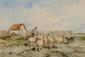 Félix Saturnin BRISSOT DE WARVILLE (1818-1892)  La rentrée du troupeau Aquarelle  Signée en bas à gauche 24 x 35 cm (à vue) (9,4 x 13,8 in.)  Watercolour Signed lower left