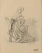 François GERARD (1770-1837) Femme à l'ouvrage Dessin au crayon Cachet de la succession en bas à droite 21,3 x 17,2 cm (à vue) (8,4 x 6,8 in.)  Pencil Stamp lower right