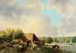 Camille FLERS (1802-1868)  Le lavoir Huile sur panneau Signée et datée 1860 en bas à gauche 34,7 x 48,6 cm (13,7 x 19,1 in.)  Oil on panel Signed and dated 1860 lower left
