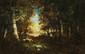 Narcisse DIAZ de la PEÑA (1807 - 1876) Bûcheronne en sous-bois à Barbizon Huile sur toile Signée en bas à gauche 27 x 40,5 cm (10,6 x 15,9 in.)  Oil on canvas Signed lower left