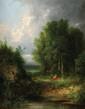 Gabriel Hippolyte LEBAS (1812-1880)  Rêverie au bord du lac Sur sa toile d'origine Signée en bas à gauche  41 x 33 cm (16,1 x 13 in.)  On its original canvas Signed lower left
