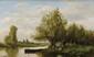 Étienne Maxime VALLÉE (act.1873-1881)  Pêcheur sur la rivière Sur sa toile d'origine Signée en bas à gauche 35 x 55,5 cm (13,8 x 21,8 in.)  On its original canvas Signed lower left
