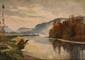 Louis Alexandre CABIÉ (1854-1939)  Paysage à la rivière Sur sa toile d'origine Signée et datée 1922 en bas à gauche 33 x 46 cm (13 x 18,1 in.)  On its original canvas Signed and dated 1922 lower left