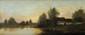 Emile Louis MATHON (1855 - ?) Bord de rivière Huile sur panneau Signée en bas à droite 24,7 x 56,2 cm (9,7 x 22,1 in.)  Oil on panel Signed lower right