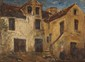 Paul HUET (1803-1869)  La ferme Huile sur panneau Cachet de cire de la vente Paul Huet au dos 26,5 x 35 cm (10,4 x 13,8 in.)  Oil on panel Wax seal on the Paul Huet's studio sale on the back