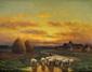 Paul CHAIGNEAU (1879-1938)  Troupeau au soleil couchant Huile sur panneau Signée en bas à gauche 21,7 x 27 cm (8,5 x 10,6 in.)  Oil on panel Signed lower left