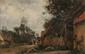 Emile Louis MATHON (c.1855-?) Vue prise à Borneval près de Dieppe Huile sur panneau Signée en bas à gauche Monogrammée EM, titrée et datée 1885 à la plume au dos 18 x 27 cm (7,1 x 10,6 in.) Oil on panel Signed lower left Monogrammed, titled and dated