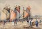 FRANK-WILL (1900-1951)  Port en Bessin Aquarelle et crayon Signé en bas à gauche Situé et daté 29 en bas à droite 55 x 78 cm (21,6 x 30,7 in.)  Watercolour and pencil Signed lower left Located and dated 29 lower right