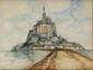 FRANK-WILL (1900-1951)  Le Mont Saint Michel Aquarelle, lavis et crayon  Signé en bas à droite 48 x 63,5 cm (18,9 x 25 in.)  Watercolour, wash and pencil Signed lower right