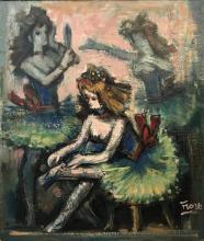 PEDRO FLORES (1897-1967) Ballerines Huile sur toile Signé en bas à droite 46 x 38 cm