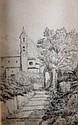 ECOLE FRANCAISE FIN XIXè - DEBUT XXè SIECLE Vue de clocher dessin à la plume 13,5 x 8,5 cm (à vue)