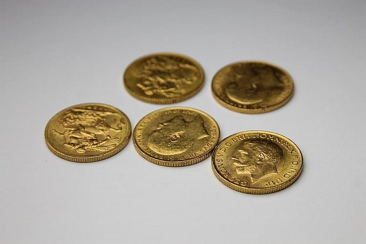LOT de 5 pièces en or jaune, 2 Georges V, 1927 et 1928 et 3 Edoouard VII, 1910, 1908, 1903. Poids brut : 39,7 g