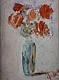 CLAUDE LAZ (XXème siècle) Bouquet de tulipes dans un vase Huile sur toile Signé en bas à droite 40 x 30 cm