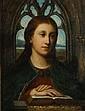 ECOLE ALLEMANDE DU XIXème siècle dans le goût Renaissance Portrait de femme  Huile sur toile.  55 x 46 cm.