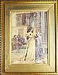 ECOLE FRANCAISE FIN XIXè - DEBUT XXè Scène medievale figurant deux jeunes femmes Aquarelle sur papier Signée en bas à gauche 'Jeanne Chomay, d'après Wagnez'? 44 x 30,5 cm
