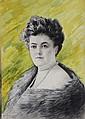 Edouard Casimir Arthur FLAMENT (1871-1943) attribué Portrait de jeune femme au collier de perles Fusain et aquarelle sur papier 45 x 31,5 cm
