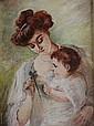 ECOLE FRANCAISE DU XXè SIECLE Mere et son enfant Huile sur toile signée en bas à droite 'Lemosse' 27 x 19 cm