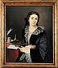 ECOLE FRANCAISE DU XIXème siècle Portrait présumé de George Sand Huile sur toile Sigle de George Sand sur le livre 62 x 73 cm