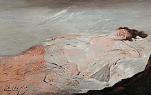 Charles Josuah CHAPLIN (1825-1891)  De retour du bal Huile sur papier marouflé sur panneau Signé en bas à gauche 28 x 43,5 cm  Oil on paper mounted on panel, Signed lower left, 11 x 17,1 in.