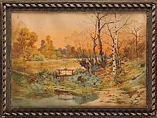 Hippolyte Jean Adam GIDE (1852-1921)  Paysage au lac Aquarelle Signé et daté 1916 en bas droite 54 x 76 cm  Watercolour, Signed and dated 1916 lower right, 21,2 x 29,9 in.