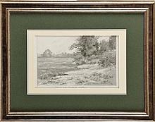Maurice DAINVILLE (1856-1943) Première gelée blanche d'Octobre (Bretagne, Kerziles près Concarneau) Dessin au crayon et encre de chine sur carte typographique, rehauts de blanc en réserve Titré et signé en bas à droite et au milieu 15 x 23 cm .