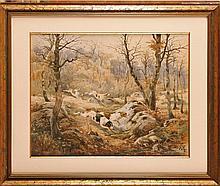 Hippolyte Jean Adam GIDE (1852-1921) La Meute Aquarelle  Signé et daté 57 en bas à droite  46 x 60 cm (à vue)  Watercolour, Signed and dated 57 lower right, 18,1 x 23,6 in.