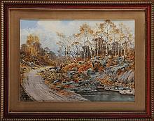 Hippolyte Jean Adam GIDE (1852-1921)  Paysage à la mare Aquarelle et réhauts de gouache Signé en bas à gauche 55 x 76 cm  Watercolour and highlights of gouache, Signed lower left, 21,6 x 29,9 in.