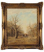 Otto Eduard PIPPEL (1878-1960)  Les Veneurs Sur sa toile d'origine Signé en bas à droite 80 x 70 cm   Oil on canvas, Signed lower right, 31,5 x 27,6 in.