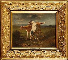 Joseph Urbain MELIN (1814-1886)  Couple de chiens Sur sa toile d'origine Signé et daté 1872 en bas à gauche  22 x 27 cm  On its original canvas, Signed and dated 1872 lower left, 8,6 x 10,6 in.