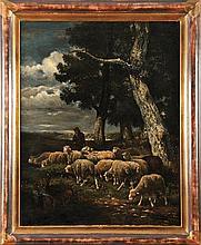 Emile JACQUE (1848-1912) Berger et ses moutons Sur sa toile d'origine Signé et daté 1861 en bas à droite 81,5 x 65,5 cm  On its original canvas, Signed and dated 1861 lower right, 32 x 25,7 in.