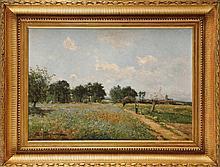 Edmond Marie PETITJEAN (1844-1925) Promeneur près d'un champs de coquelicots Sur sa toile d'origine Signé en bas à gauche 46,5 x 65 cm Nous remercions Monsieur Benoît CHONE d'avoir aimablement confirmé l'authenticité de notre tableau. On its original
