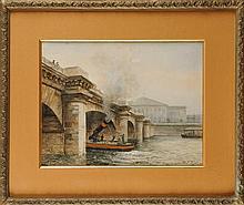 Paul PUJOL (1848- ?) Le pont de la Concorde Aquarelle  Signé et daté 1892 en bas à droite  39 x 50 cm  Au dos : Etiquette d'Exposition de Chicago  Watercolour, Signed and dated 1892 lower right, 15,3 x 19,6 in.