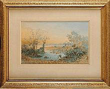 C. Anton GOERING (1836-1905)  Flamands roses à Leipgig (Venezuela) Gouache et aquarelle Signé et daté en bas à gauche 32,5 x 51,5 cm  Gouache and watercolour, Signed and dated lower left, 12,7 x 20,2 in.