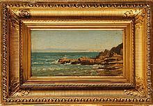 Auguste ANASTASI (1820-1889) Rochers et mer bleue de Douarnenez, Bretagne Huile sur toile Au dos : Cachet en cire rouge et étiquette de la vente d'atelier 16,5 x 31,5 cm Oil on canvas, Stamp and tag of the studio sale on the reverse : 6,4 x 12,4 in.