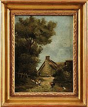 Ecole Française du XIXème siècle Basse-coure Sur sa toile d'origine Signé en bas à droite 32,5 x 25 cm  On its original canvas, Signed lower right, 12,7 x 9,8 in.