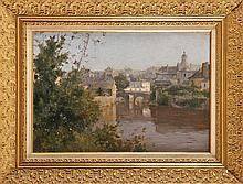 Ernest BAILLET (1853-1902)  Rivière traversant une ville Sur sa toile d'origine Signé en bas à gauche 38 x 55 cm  Oil on canvas, Signed lower left, 14,9 x 21,6 in.