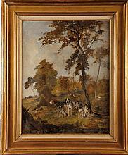 Olivier Charles DE PENNE (1831-1897) Les Chiens (esquisse) Sur sa toile d'origine Signé en bas à gauche 59 x 48 cm  On its original canvas, Signed lower left, 23,2 x 18,8 in.