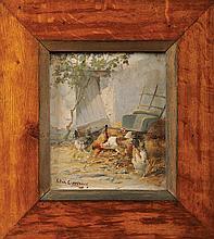 Edmond VAN COPPENOLLE (1846-1914)  Poulailler Huile sur panneau Signé en bas à gauche 28 x 24 cm  Oil on panel, Signed lower left, 11 x 9,4 in.