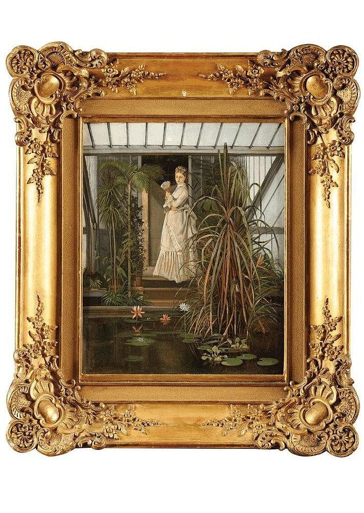 Camille Léopold CABAILLOT-LASSALLE (1839-?) Elégante dans une serre Sur sa toile d'origine (Blanchet) Signé en bas à gauche 46 x 38 cm Au dos : Etiquette des Etablissements Chenue titrant l'oeuvre