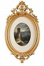 Ecole Allemande du XIXème siècle Paysages romantiques Paire de pastels à vue ovale L'un signé Betbaer en bas à gauche 40 x 30 cm chaque  Two pastels (oval view), One Signed Betbaer lower left, 15,7 x 11,8 in.each