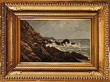 Auguste ANASTASI (1820-1889) Côte rocheuse en Bretagne sud, près de Pont-Aven Huile sur toile Au dos : Cachet de l'artiste et étiquette de la vente d'atelier 25 x 39 cm Provenance: Vente de l'atelier de l'artiste (organisée par ses amis peintres pour