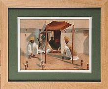 François de MONTHOLON (1856-1940) Soldats indiens au repos fumant sous la tente, camp britannique des Bruyères-Saint-Julien à Rouen (1915) Aquarelle sur sérigraphie Signé en bas à droite Etiquette de l'atelier au dos 27 x 37 cm Watercolour on