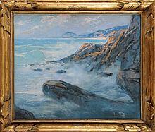 Louis FORTUNEY (1875-1951) Côte rocheuse Pastel et gouache  Monogrammé en bas à droite 46 x 55 cm  Pastel and gouache, Monogrammed lower right, 18,1 x 21,6 in.