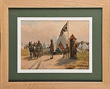 François de MONTHOLON (1856-1940) Entrée du camp des troupes indiennes sikhs, camp britannique des Bruyères-Saint-Julien à Rouen, 1915 . Aquarelle sur sérigraphie Signé en bas à droite Etiquette de l'atelier au dos 26 x 36 cm Watercolour on
