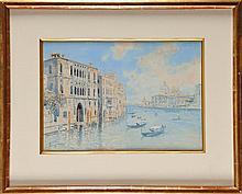 Pietro SCOPETTA (1863-1920) Vue de Venise Aquarelle Signé en bas à gauche 24 x 35 cm  Watercolour, Signed lower left, 9,4 x 13,7 in.