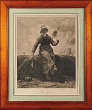 Lionel Aristide LE COUTEUX (1847-?), d'après Jean-François MILLET The Spinner Eau-forte 53,5 x 43,5 cm (à vue)  Etching, 21 x 17,1 in.