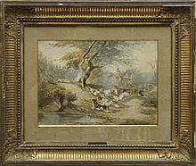 Jules GELIBERT (1834-1916) La chasse au renard Aquarelle  Signé et daté 64 en bas à droite  23 x 31 cm (à vue)  Watercolour, Signed and dated 64 lower right, 9 x 12,2 in.