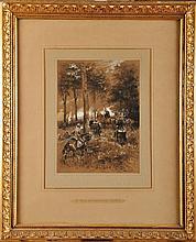 Edouard Jean Baptiste DETAILLE (1848-1912)  Général de Division et Officier d'état-major Crayon et gouache Signé et daté 1884 en bas à droite   34,8 x 25,5 cm (à vue)  Pencil and gouache, Signed and dated 1884 lower right, 13,7 x 10 in.