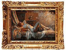 Delphin ENJOLRAS (1857-1945)  Danaée et la pluie d'or Huile sur panneau  Signée en bas à gauche  15 x 22 cm  Oil on panel, Signed lower left, 5,9 x 8,6 in.